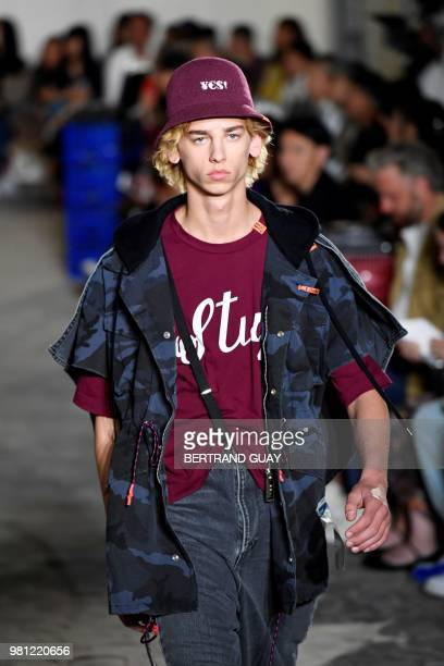 A model walks the runway during the Maison Mihara Yasuhiro Menswear Spring/Summer 2019 show as part of Paris Fashion Week on June 22 2018 in Paris...