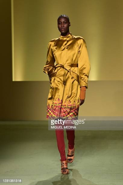 """Model presents a creation by Nigerian fashion stylist Joy Ijeoma Meribe from the collective """"Black Lives Matter in Italian Fashion"""" on February 17,..."""