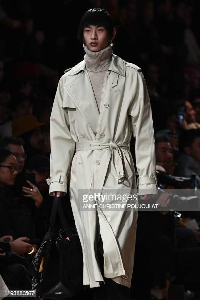 A model presents a creation by OffWhite during the men's Fall/Winter 2020/2021 collection fashion show in Paris on January 15 2020
