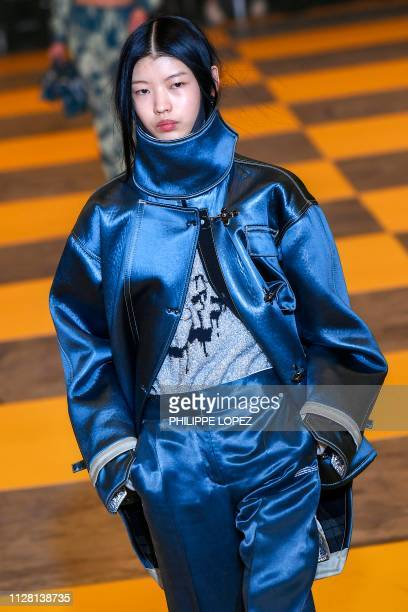 A model presents a creation by OffWhite during the Women's FallWinter 2019/2020 ReadytoWear collection fashion show in Paris on February 28 2019