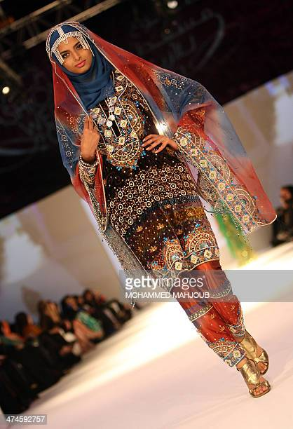 A model presents a creation by Omani designer Anisa alZadjali during the 2011 Muscat Fashion Week in the Omani capital late on February 23 2011 AFP...