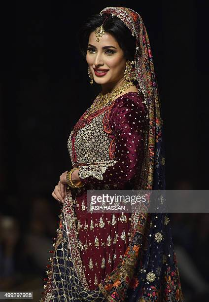 A model presents a creation by Pakistani designer Zainab Chottani on the final day of the Fashion Pakistan Week in Karachi on November 30 2015 AFP...