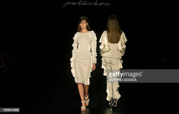 A model presents a creation by Patachou during the Rio Fashion Week 2013 Autumn/ Winter collection on November 9 2012 in Rio de Janeiro Brazil AFP...