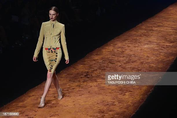 A model presents a creation by Patrícia Viera during the 2014 Winter collection of Fashion Rio in Rio de Janeiro Brazil on November 6 2013 AFP PHOTO...