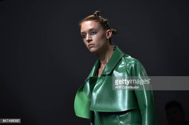 A model presents a creation by Polish born designer Marta Jakubowski during a catwalk show for her Spring/Summer 2018 collection on the first day of...