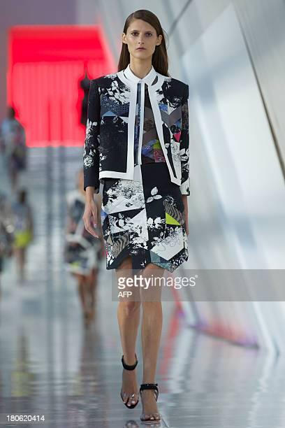 A model presents a creation by Preen during the 2014 Spring/Summer London Fashion Week in London on September 15 2013 AFP PHOTO / ANDREW COWIE