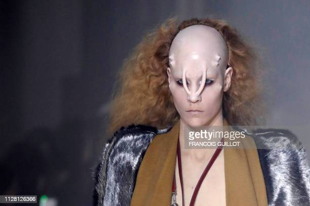 A model presents a creation by Rick Owens during the FallWinter 2019/2020 ReadytoWear collection fashion show in Paris on February 28 2019