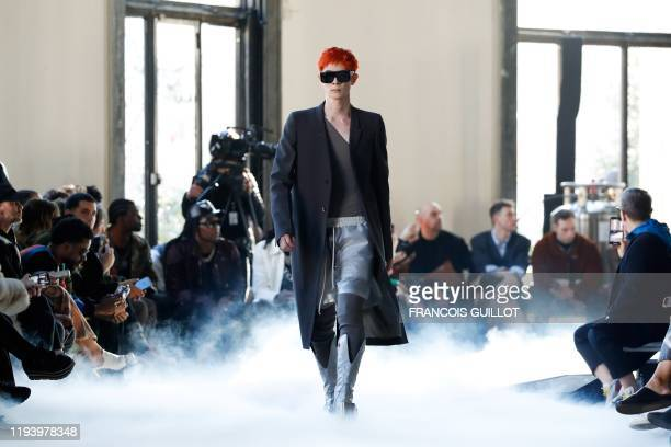 A model presents a creation by Rick Owens during the men's Fashion Week for the FallWinter 20202021 collection in Paris on January 16 2020