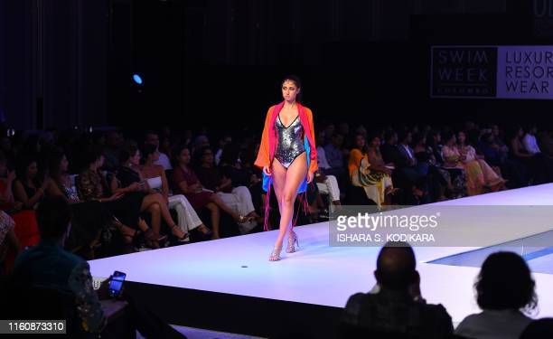 A model presents a creation by Rodic during Swim Week Colombo a fashion week dedicated to swimwear and resort wear in Colombo on August 10 2019