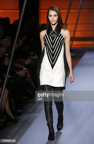 A model presents a creation by Roland Mouret during the 2014/2015 Autumn/Winter readytowear collection fashion show on February 28 2014 in Paris AFP...