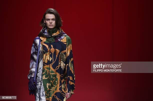 A model presents a creation by Salvatore Ferragamo during the women's Fall/Winter 2018/2019 collection fashion show in Milan on February 24 2018