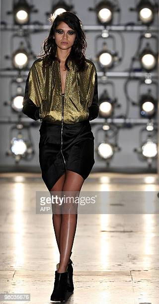 A model presents a creation by Serb fashion designer Aleksandar Protic on the third day of ModaLisboa in Lisbon on March 13 2010 AFP PHOTO/ JOAO...