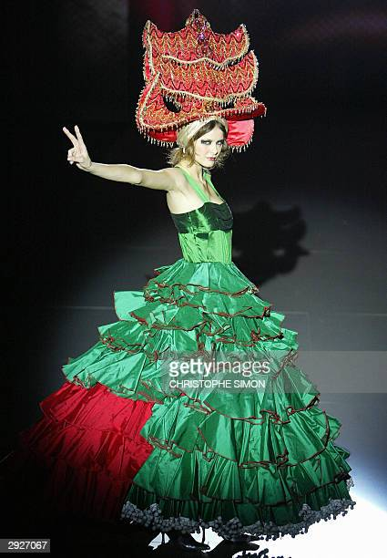 A model presents a creation by Spanish designer Nekane during the Pasarela Gaudi fashion week at Barcelona Feria in Barcelona 04 February 2004 AFP...