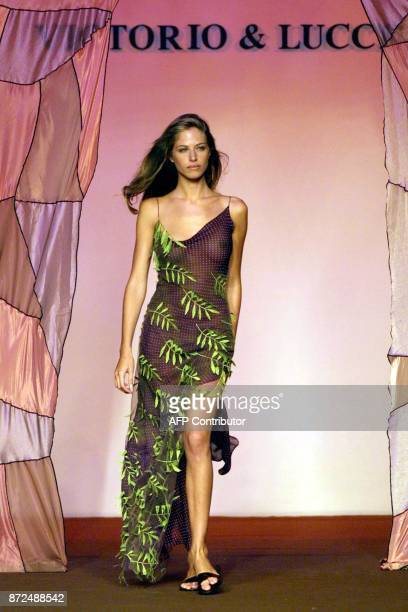 """Model presents a creation by Spanish designers Victorio & Lucchino during their show for the presentation of """"spring-summer 2002"""" collection during..."""