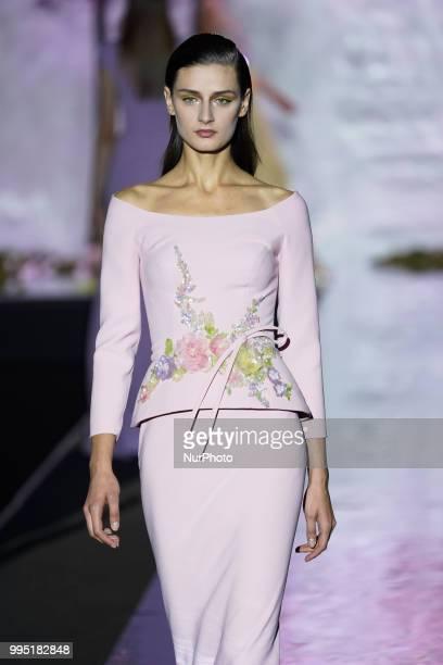 A model presents a creation by Spanish Hannibal Laguna at the fashion show at the MercedesBenz Fashion Week Madrid SpringSummer 2019 in IFEMA Madrid...
