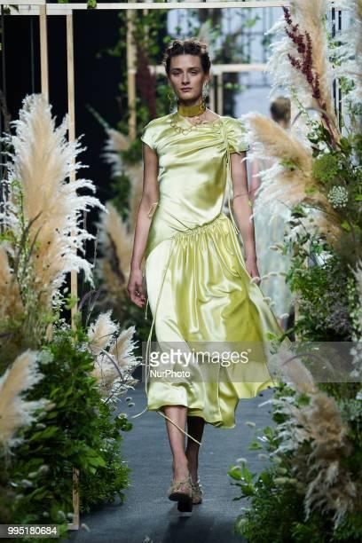 A model presents a creation by Spanish Inunez at the fashion show at the MercedesBenz Fashion Week Madrid SpringSummer 2019 in IFEMA Madrid Spain 10...