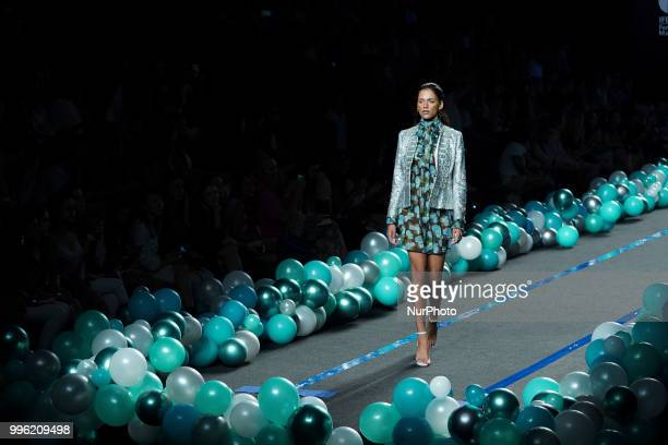 A model presents a creation by Spanish La Condesa at the fashion show at the MercedesBenz Fashion Week Madrid SpringSummer 2019 in IFEMA Madrid Spain...