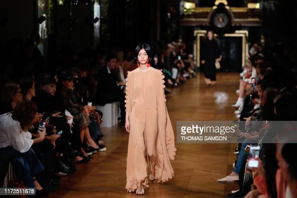 Model presents a creation by Stella McCartney during the Women's Spring-Summer 2020 Ready-to-Wear collection fashion show at the Opera Garnier in...