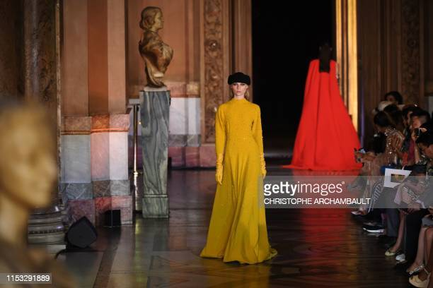 Model presents a creation by Stephane Rolland during the Women's Fall-Winter 2019/2020 Haute Couture collection fashion show in Paris, on July 2,...