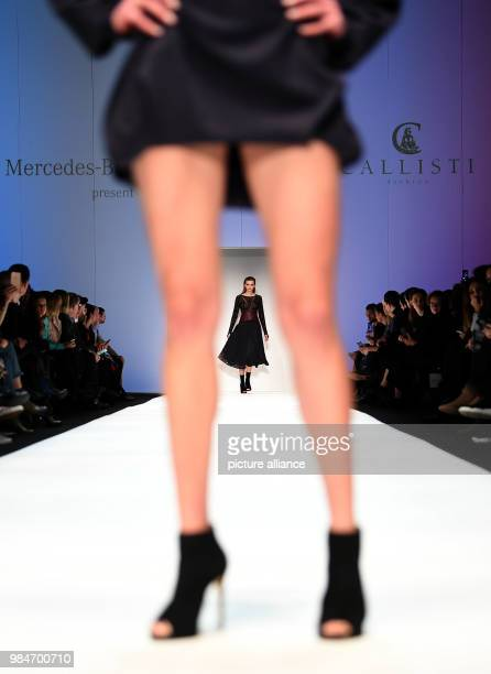 A model presents a creation by the label Callisti at the ewerk during the Mercedes Benz Fashion Week in Berlin Germany 16 January 2018 Collections...