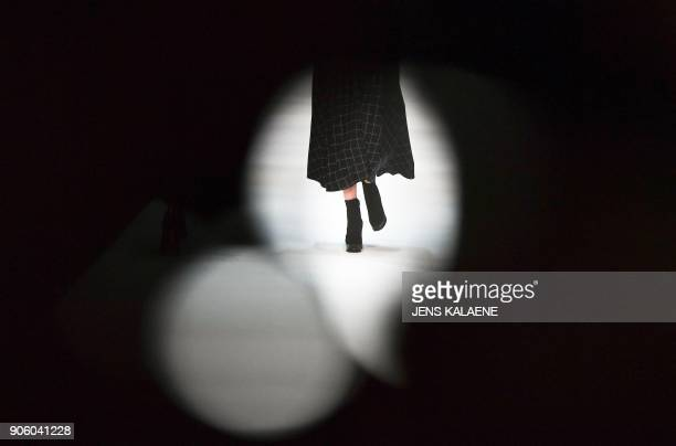 A model presents a creation by the label 'Maisonnoee' during the Fashion Week in Berlin on January 17 2018 PHOTO / dpa / Jens Kalaene / Germany OUT
