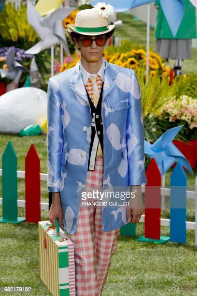 A model presents a creation by Thom Browne during the Men's Spring/Summer 2019 fashion show on June 23 2018 in Paris