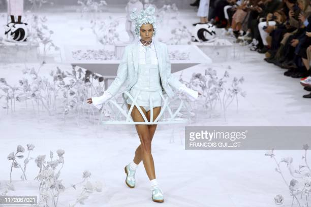Model presents a creation by Thom Browne during the Women's Spring-Summer 2020 Ready-to-Wear collection fashion show at the Ecole nationale...