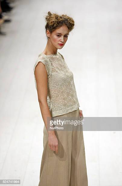 Model presents a creation by Ukrainian designers Alyona Vorozhbyt and Tatyana Zemskova during the Ukrainian Fashion Week in Kiev, Ukraine, 17 October...