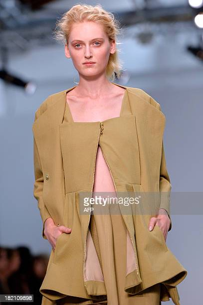 A model presents a creation by Veronique Leroy during the 2014 Spring/Summer readytowear collection fashion show on September 28 2013 in Paris AFP...
