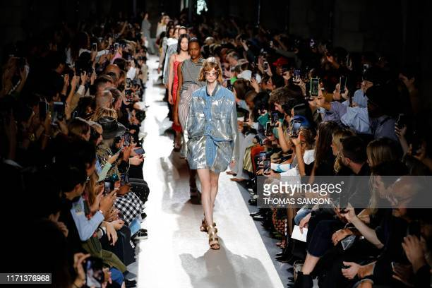 TOPSHOT A model presents a creation by Y/Project during the Women's SpringSummer 2020 ReadytoWear collection fashion show at Le Bridge in Paris on...