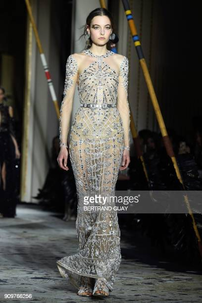 A model presents a creation by Zuhair Murad during the 2018 spring/summer Haute Couture collection fashion show on January 24 2018 in Paris / AFP...