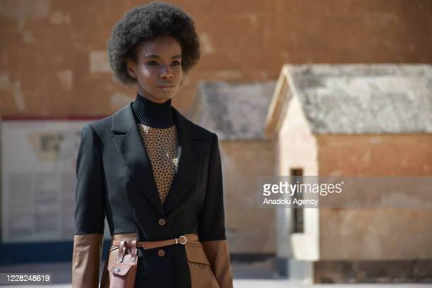 Model presents a creation during Dosso Dossi 2020-21 Winter Creation Digital Platform Fashion Show at the Ishak Pasha Palace, a semi-ruined palace...