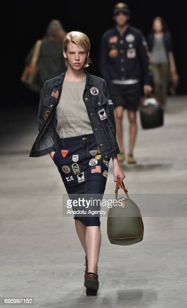 Model presents a creation during Hunting World Fashion Parade within 92nd Pitti Immagine Uomo, which is one of the worlds most important platforms...