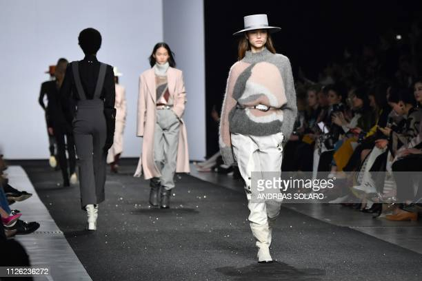 A model presents a creation during the Alberta Ferretti women's Fall/Winter 2019/2020 collection fashion show on February 20 2019 in Milan