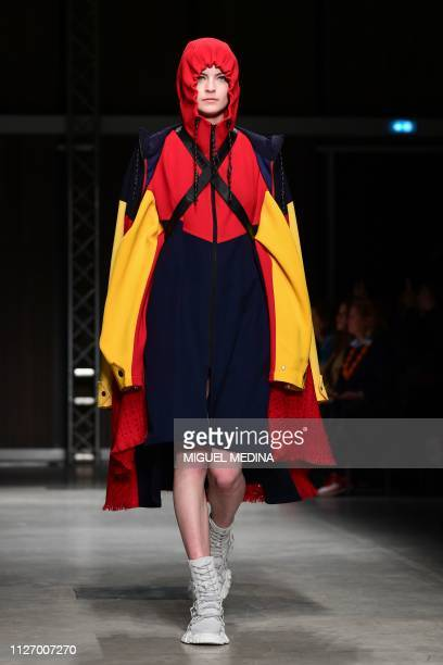 A model presents a creation during the Angel Chen women's Fall/Winter 2019/2020 collection fashion show on February 24 2019 in Milan