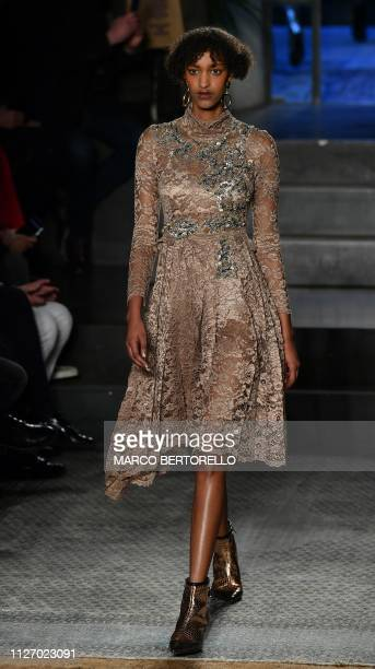 A model presents a creation during the Antonio Marras women's Fall/Winter 2019/2020 collection fashion show on February 24 2019 in Milan