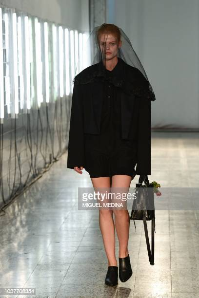 A model presents a creation during the Belgian Fashion House AFVandevorst Women's Spring/Summer 2019 fashion show in Milan on September 22 2018