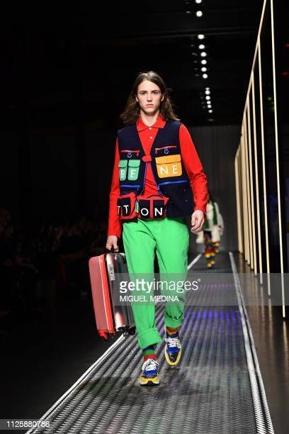 A model presents a creation during the Benetton women's Fall/Winter 2019/2020 collection fashion show on February 19 2019 in Milan