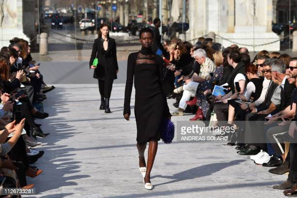A model presents a creation during the Bottega Veneta women's Fall/Winter 2019/2020 collection fashion show on February 22 2019 in Milan