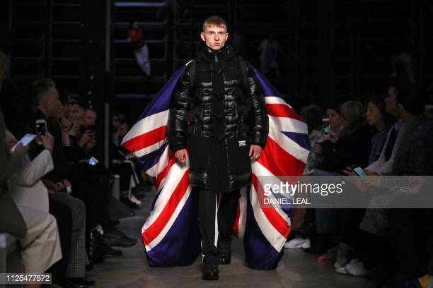 Model presents a creation during the British fashion house Burberry 2019 Autumn / Winter collection catwalk show at London Fashion Week in London on...