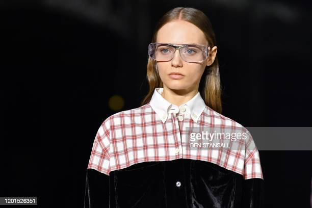 Model presents a creation during the British fashion house Burberry 2020 Autumn / Winter collection catwalk show during London Fashion Week in London...