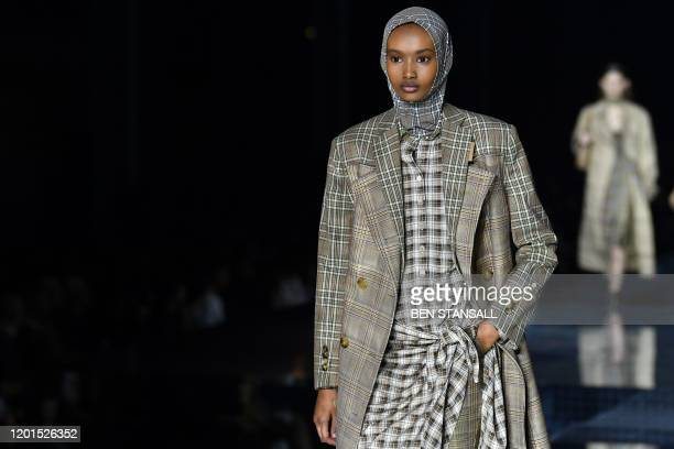 A model presents a creation during the British fashion house Burberry 2020 Autumn / Winter collection catwalk show during London Fashion Week in...