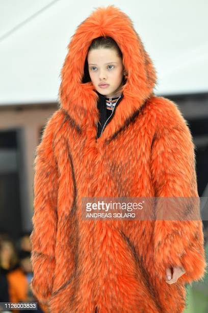 A model presents a creation during the Byblos women's Fall/Winter 2019/2020 collection fashion show on February 20 2019 in Milan