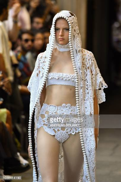 A model walks the runway at the Cristiano Burani show during Milan Fashion Week Spring/Summer 2019 on September 23 2018 in Milan Italy