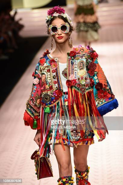 Model presents a creation during the Dolce & Gabbana fashion show, as part of the Women's Spring/Summer 2019 fashion week in Milan, on September 23,...