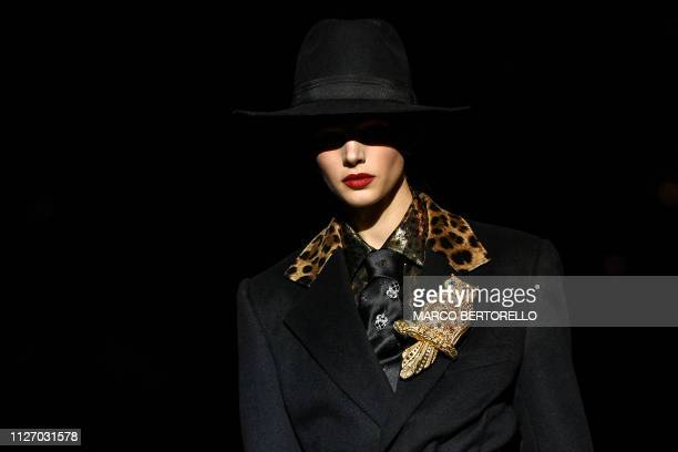 A model presents a creation during the Dolce Gabbana women's Fall/Winter 2019/2020 collection fashion show on February 24 2019 in Milan
