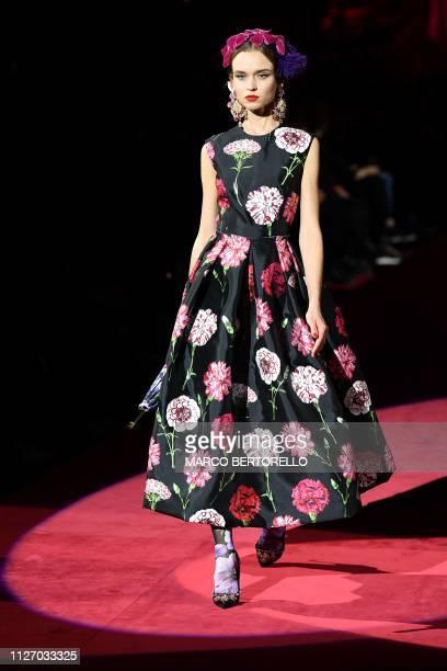 986e8d25058b A model presents a creation during the Dolce Gabbana women's Fall/Winter  2019/2020