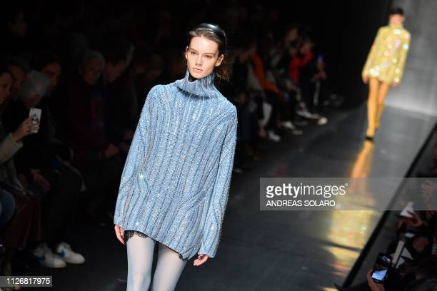 A model presents a creation during the Ermanno Scervino women's Fall/Winter 2019/2020 collection fashion show on February 23 2019 in Milan