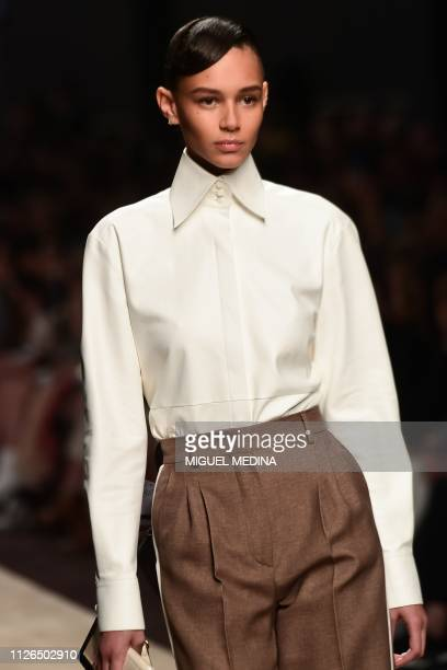 A model presents a creation during the Fendi women's Fall/Winter 2019/2020 collection fashion show on February 21 2019 in Milan