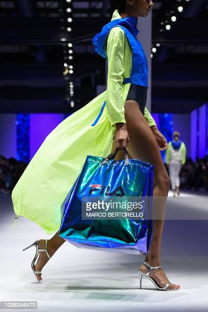 A model presents a creation during the Fila fashion show as part of the Women's Spring/Summer 2019 fashion week in Milan on September 23 2018